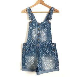 Girls Shortalls Light Denim Wash Aztec Pattern